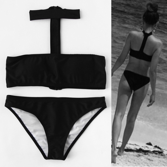 065da920d6 🔥🆕Black bandeau chocked neck 2 piece bikini